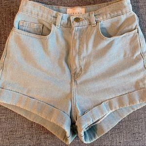 High-waisted light blue jean shorts